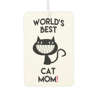 World's Best Cat Mom | Fun Cat Cartoon Car Air Freshener