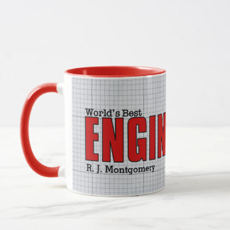 World's Best Civil Engineer Red with Grid Paper Mug