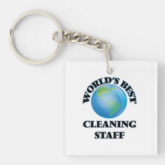 World's Best Cleaning Staff Square Acrylic Keychains