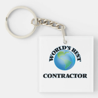 World's Best Contractor Square Acrylic Key Chains