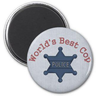 Worlds Best Cop 6 Cm Round Magnet