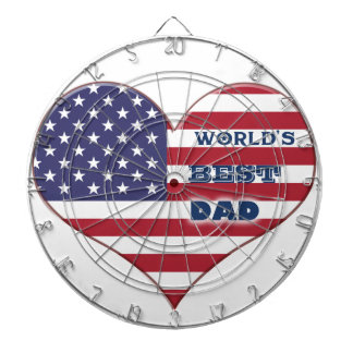 World's Best Dad American Flag Heart Dartboard With Darts