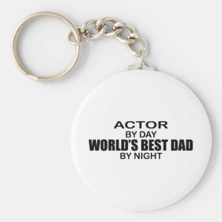 World's Best Dad by Night - Actor Basic Round Button Key Ring