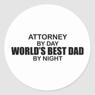 World's Best Dad by Night - Attorney Round Sticker