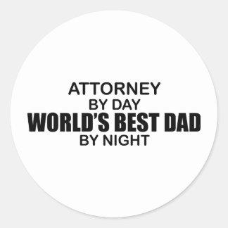 World's Best Dad by Night - Attorney Round Sticker