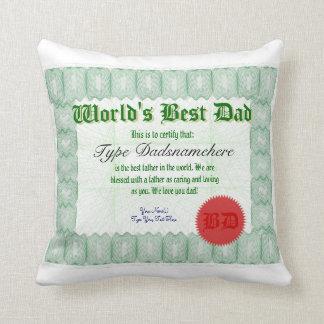 World's Best Dad Certicate Award Pillow