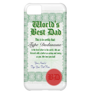 World's Best Dad Certicate Case For iPhone 5C