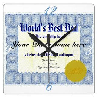 World's Best Dad Certificate Wallclock