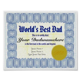 World's Best Dad Certificate Poster