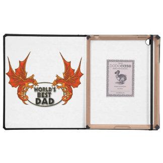 Worlds Best Dad Dragon In Gold Trim iPad Folio Case