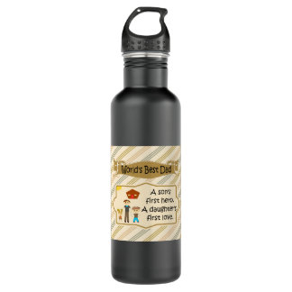 Worlds Best Dad First Hero First Love 710 Ml Water Bottle