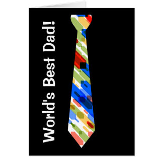 World's Best Dad Multi-Color Colorful Fake Tie Greeting Card