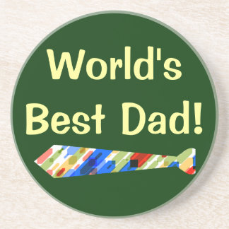 World's Best Dad Multi-Color Colorful Fake Tie Coasters