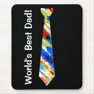 World's Best Dad Multi-Color Colorful Fake Tie Mouse Pad