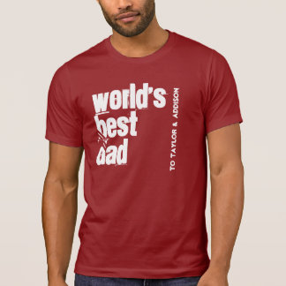 World's Best Dad Red and White V200 T-Shirt