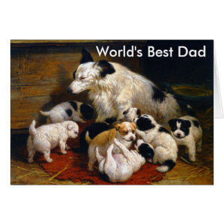 World's Best Dad Sheepdog and Puppies Card