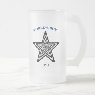 World's Best Dad Star Frosted Glass Beer Mug