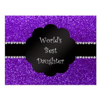 World's best daughter indigo purple glitter postcard