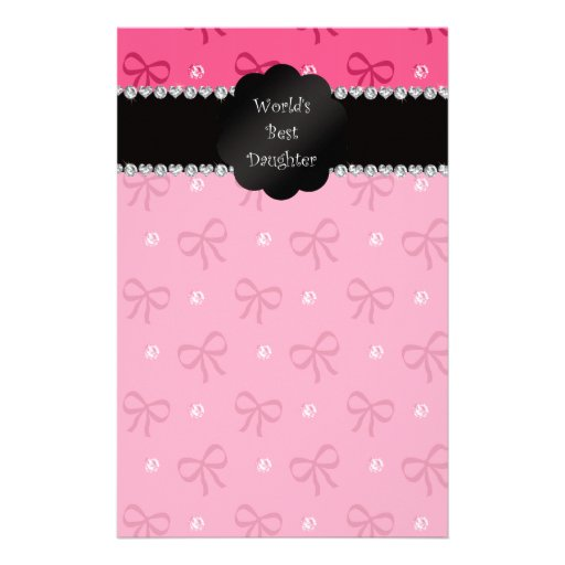World's best daughter pink bows diamonds stationery paper