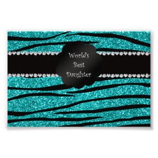 World's best daughter turquoise glitter zebra photographic print