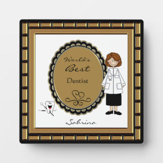 World's Best Dentist Female Plaque