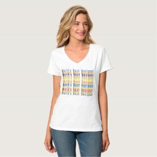 World's Best Designer - Rainbow Bleed V-Neck T-Shirt
