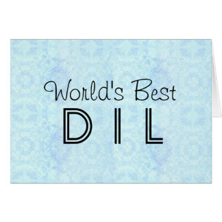 World's Best DIL Daughter in Law Vintage AQUA Card