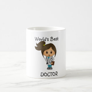 World's Best Doctor - Cute Female brunette image Basic White Mug