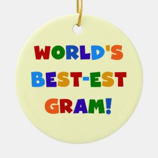 World's Best-est Gram Bright Colors Gifts Round Ceramic Decoration