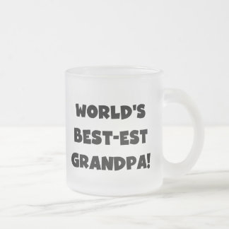 World's Best-est Grandpa Black or White Text Frosted Glass Mug