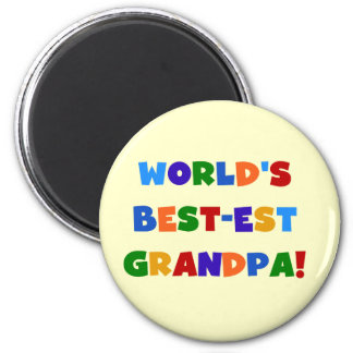 World's Best-est Grandpa Bright Colours Gifts 6 Cm Round Magnet