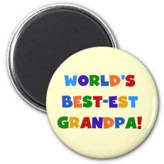 World's Best-est Grandpa Bright Colours Gifts 6 Cm Round Magnet