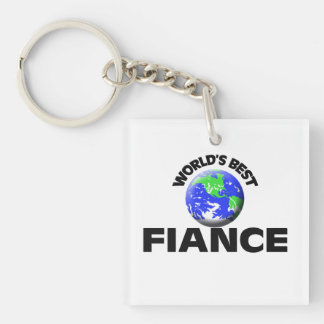 World's Best Fiance Single-Sided Square Acrylic Key Ring