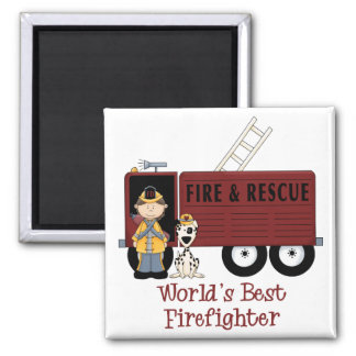 World's Best Firefighter Woman Square Magnet