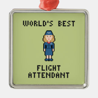 World's Best Flight Attendant Silver-Colored Square Decoration