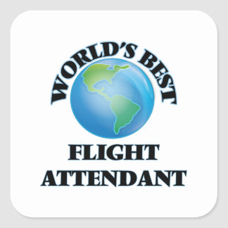 World's Best Flight Attendant Square Stickers