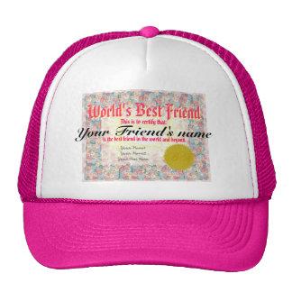 World's Best Friend Certificate Hats