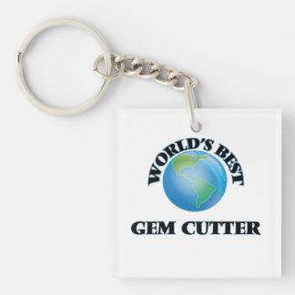 World's Best Gem Cutter Square Acrylic Keychain