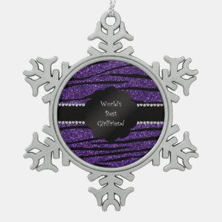 World's best girlfriend purple zebra stripes snowflake pewter christmas ornament