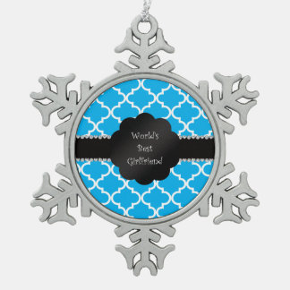 World's best girlfriend sky blue quatrefoil snowflake pewter christmas ornament