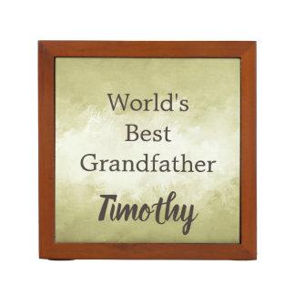 Worlds Best Grandfather Brown and White Desk Organiser