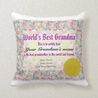 World's Best Grandma Award Certificate Pillow Throw Cushions