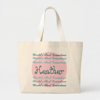 World's Best GRANDMA Custom Name Aqua Teal Pink Jumbo Tote Bag