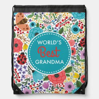 World's Best Grandma Drawstring Bag