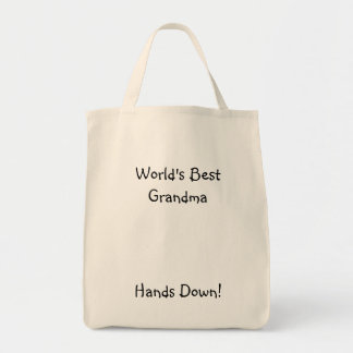 World's Best Grandma, Hands Down! Grocery Tote Bag