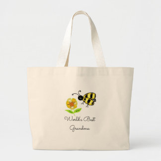 Worlds Best Grandma Honey Bee Large Tote Bag