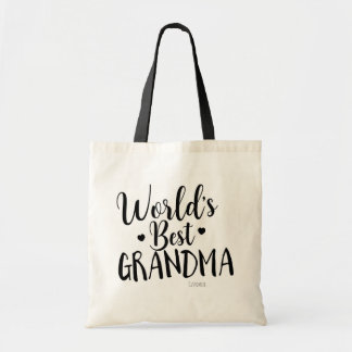 WORLD'S BEST GRANDMA Personalized Custom Name Tote Bag