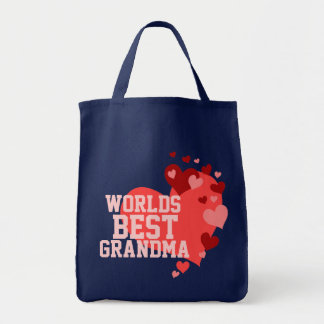 Worlds Best Grandma Personalized Grocery Tote Bag