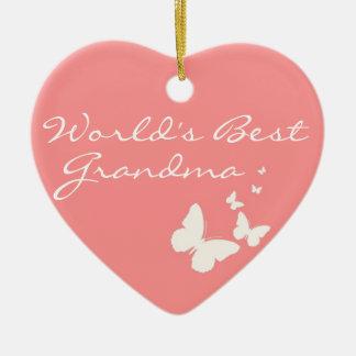 World's Best Grandma Pink Butterfly Heart Ornament