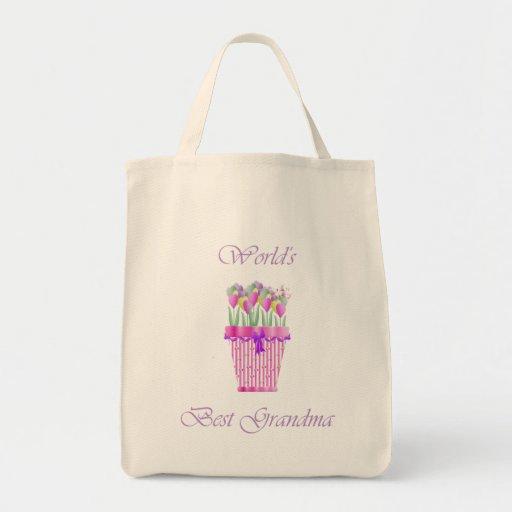 world's best grandma (pink flowers) canvas bags